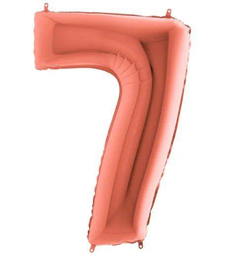 Balão Metalizado Número - 7 - Rosê Gold - (40'' Aprox 100cm) - Rizzo Embalagens