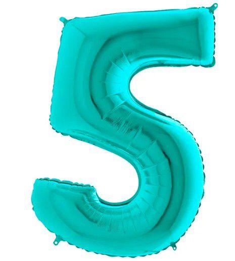 Balão Metalizado Número - 5 - Tiffany - (40'' Aprox 100cm) - Rizzo Embalagens
