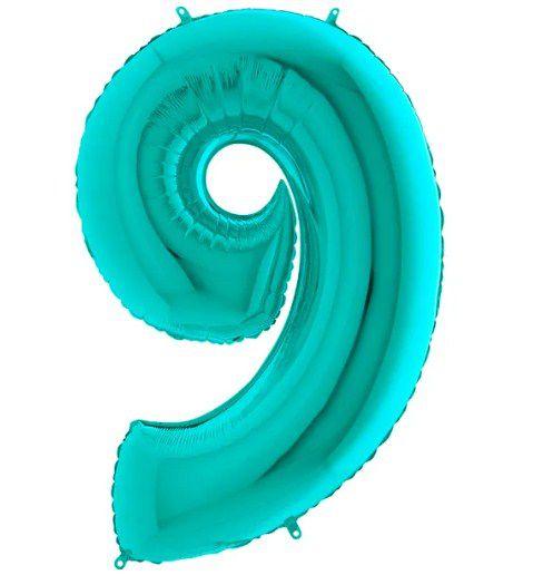Balão Metalizado Número - 9 - Tiffany - (40'' Aprox 100cm) - Rizzo Embalagens