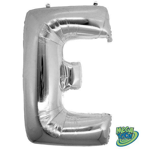Balão Metalizado Letra - E - Prata - (14'' Aprox 36cm) - Rizzo Embalagens