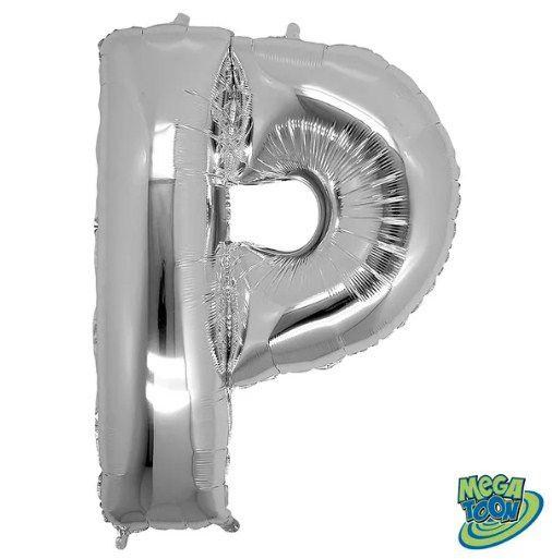 Balão Metalizado Letra - P - Prata - (14'' Aprox 36cm) - Rizzo Embalagens