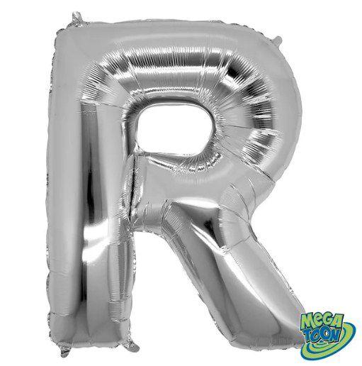Balão Metalizado Letra - R - Prata - (14'' Aprox 36cm) - Rizzo Embalagens