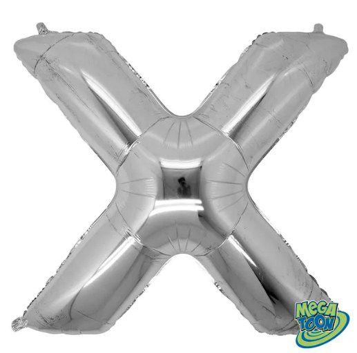 Balão Metalizado Letra - X - Prata - (14'' Aprox 36cm) - Rizzo Embalagens