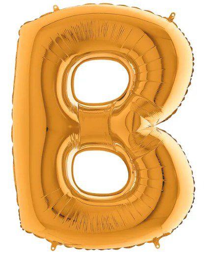 Balão Metalizado Letra - B - Ouro - (14'' Aprox 36cm) - Rizzo Embalagens