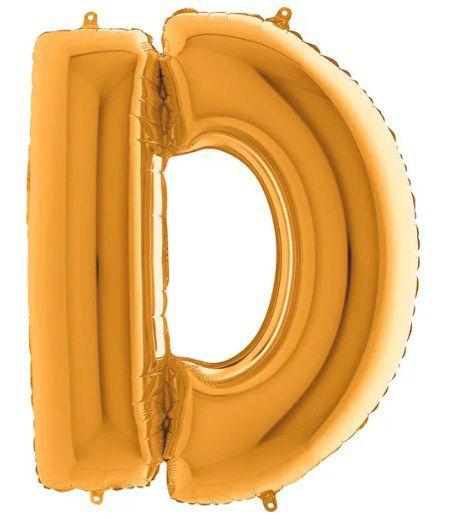 Balão Metalizado Letra - D - Ouro - (14'' Aprox 36cm) - Rizzo Embalagens