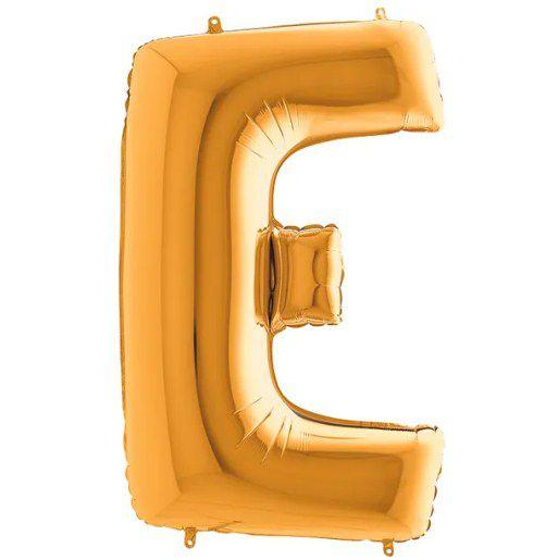 Balão Metalizado Letra - E - Ouro - (14'' Aprox 36cm) - Rizzo Embalagens