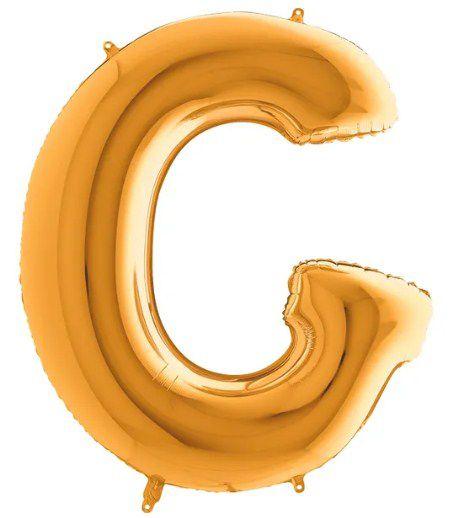 Balão Metalizado Letra - G - Ouro - (14'' Aprox 36cm) - Rizzo Embalagens