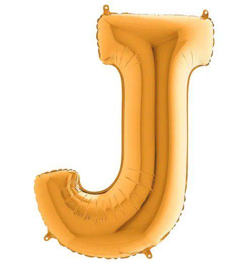 Balão Metalizado Letra - J - Ouro - (14'' Aprox 36cm) - Rizzo Embalagens