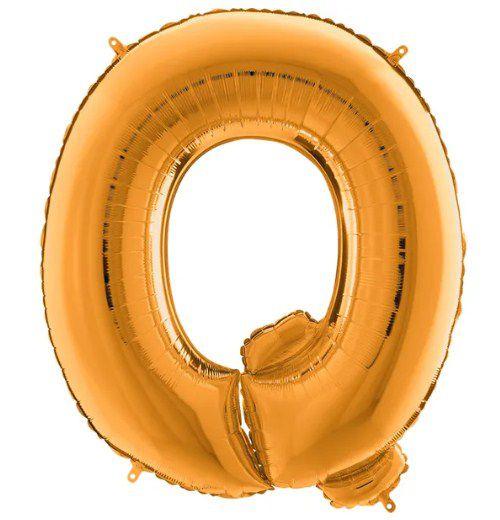 Balão Metalizado Letra - Q - Ouro - (14'' Aprox 36cm) - Rizzo Embalagens