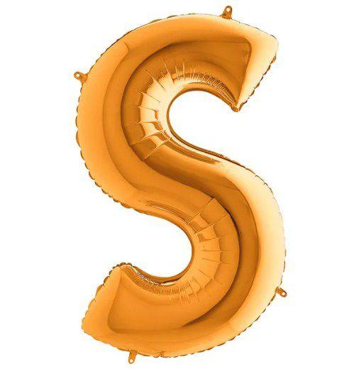 Balão Metalizado Letra - S - Ouro - (14'' Aprox 36cm) - Rizzo Embalagens