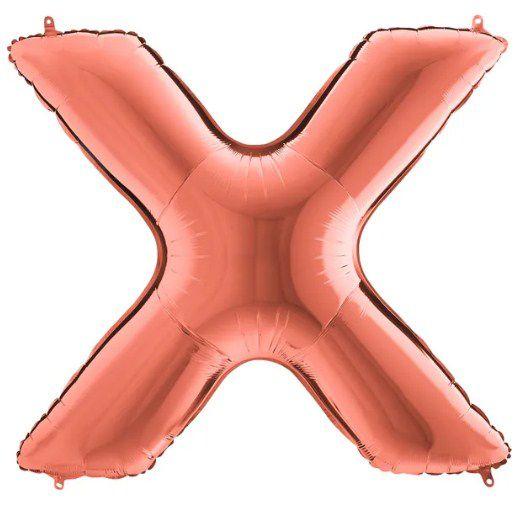 Balão Metalizado Letra - X - Rosê Gold - (14'' Aprox 36cm) - Rizzo Embalagens