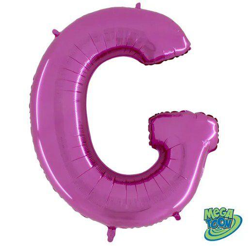 Balão Metalizado Letra - G - Rosa - (14'' Aprox 36cm) - Rizzo Embalagens