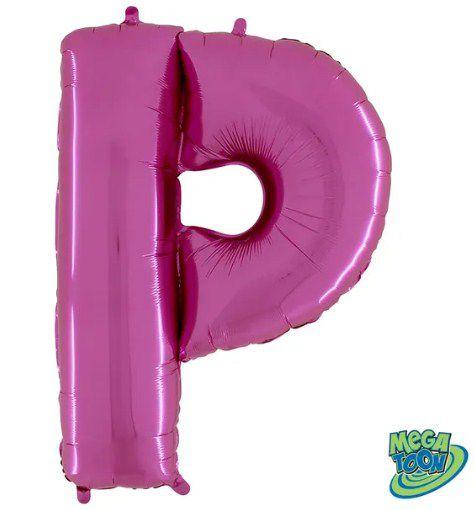 Balão Metalizado Letra - P - Rosa - (14'' Aprox 36cm) - Rizzo Embalagens