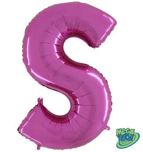 Balão Metalizado Letra - S - Rosa - (14'' Aprox 36cm) - Rizzo Embalagens
