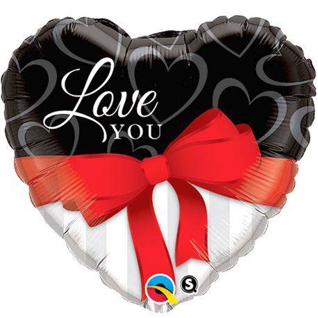 Balão Metalizado Coração Love You Laço - 18'' - 46cm - Qualatex - Rizzo festas