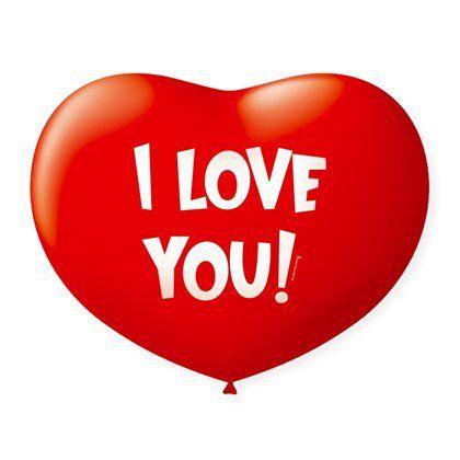 Balão de Coração em Latex 11'' 28cm - I Love You - Vermelho Quente - 20 unidades - São Roque - Rizzo Festas