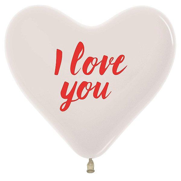 Balão de Festa Coração Cristal I Love You 12'' 28cm - 12 unidades - Sempertex - Cromus - Rizzo Festas