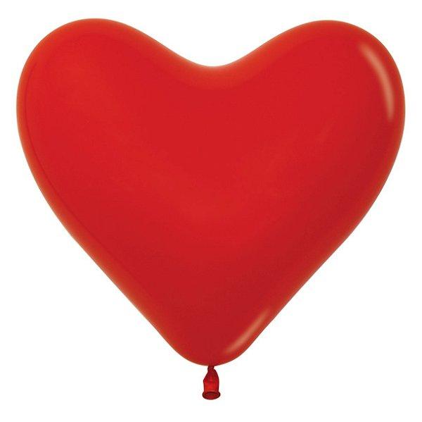 Balão de Festa Coração Vermelho Liso 6'' 15cm - 60 unidades - Sempertex - Cromus - Rizzo Festas