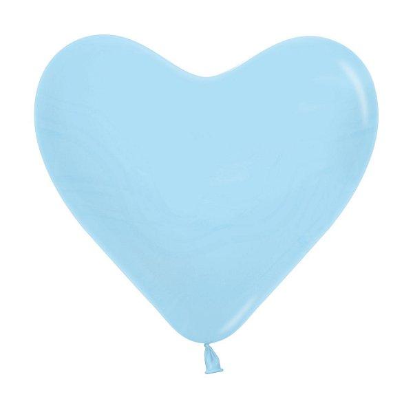 Balão de Festa Coração Azul Liso 6'' 15cm - 60 unidades - Sempertex - Cromus - Rizzo Festas