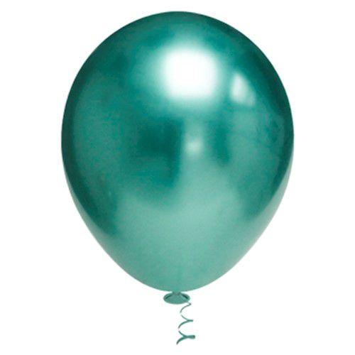 Balão de Festa Metálico 9'' 23cm - Verde - 25 unidades - São Roque - Rizzo Festas