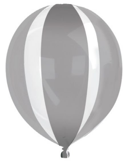 Balão Metalizado Gota Clear Listras Prata Metálico 15'' - Sempertex Cromus - Rizzo Festas