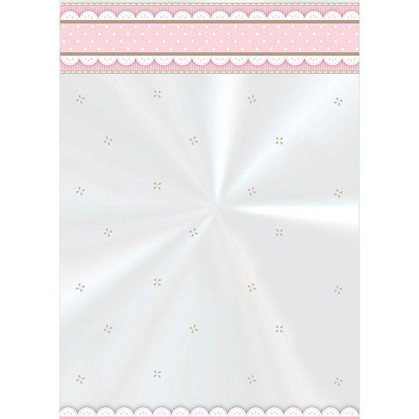 Saco Decorado Cute Rosa - 10cm x 14cm - 50 unidades - Cromus - Rizzo Embalagens