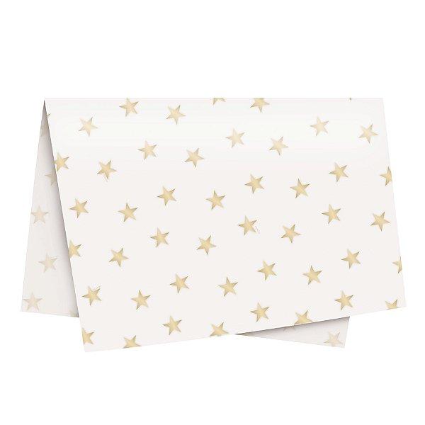 Papel de Seda - 49x69cm - Estrela Ouro e Marfim - 10 folhas - Rizzo Embalagens