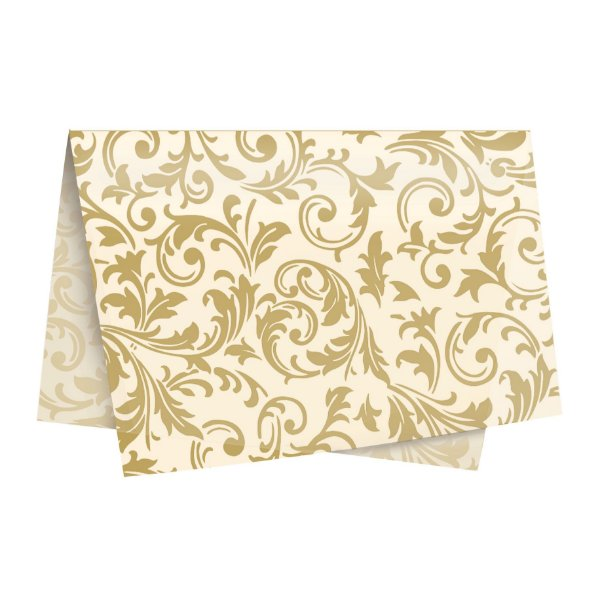 Papel de Seda - 49x69cm - Arabesco Ouro e Marfim - 10 folhas - Rizzo Embalagens