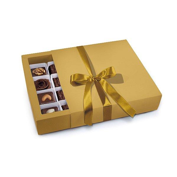 Caixa Luva 16 Bombons Ouro 16,5 x 16 x 4cm - Cromus - Rizzo Embalagens