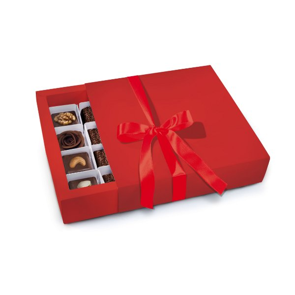 Caixa Luva 16 Bombons Vermelha 16,5 x 16 x 4cm - 01 Unidade - Cromus - Rizzo Embalagens