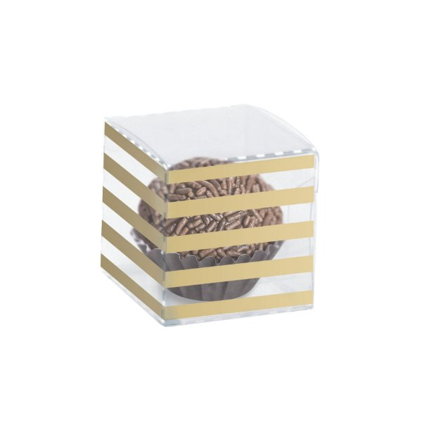 Caixa Clean 1 Doce Listras Ouro 4 x 4 x 4cm - 10 unidades - Cromus - Rizzo Embalagens