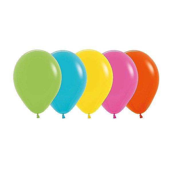 Balão de Festa Latex R10'' 25cm - Sortido Tropical - 50 unidades - Sempertex Cromus - Rizzo Festas