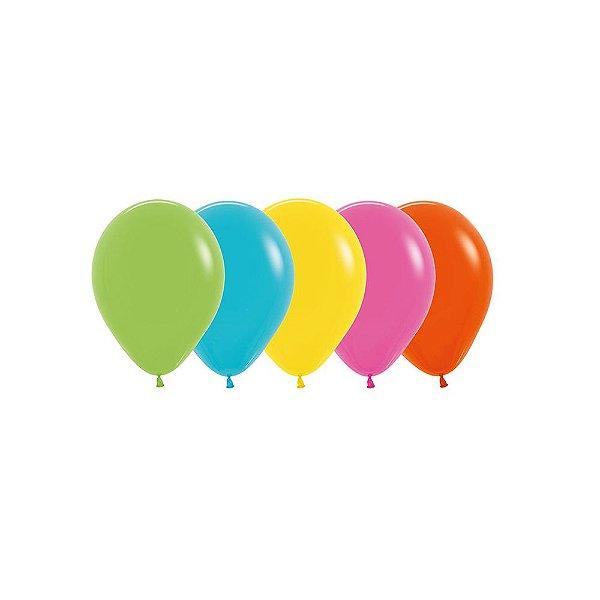 Balão de Festa Latex R5'' 12cm - Sortido Tropical - 50 unidades - Sempertex Cromus - Rizzo Festas