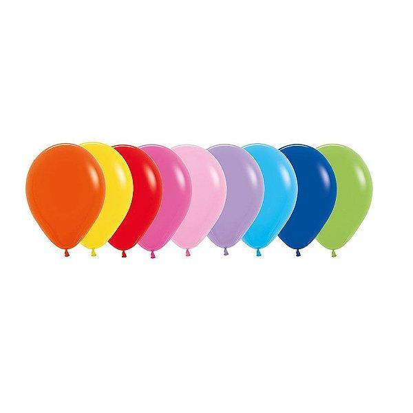 Balão de Festa Latex R10'' 25cm - Sortido - 50 unidades - Sempertex Cromus - Rizzo Festas
