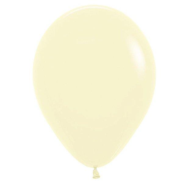 Balão de Festa Latex R12'' 30cm - Amarelo Pastel Matte - 50 unidades - Sempertex Cromus - Rizzo Festas