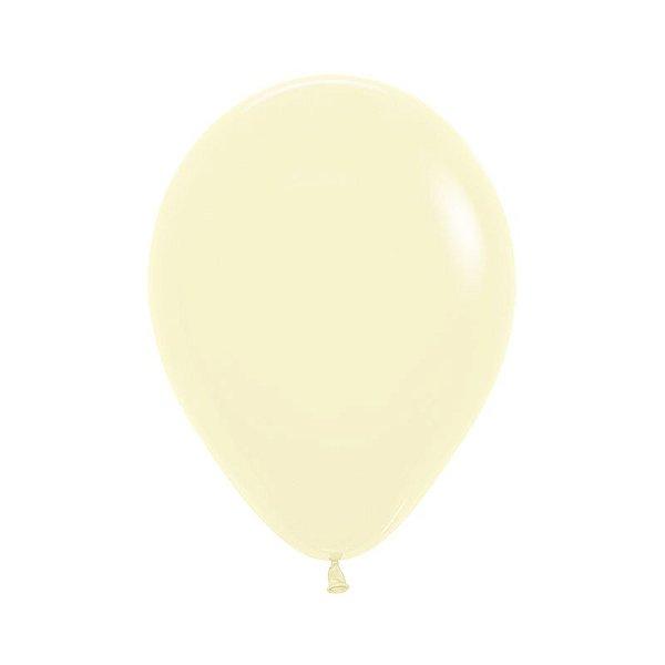 Balão de Festa Latex R10'' 25cm - Amarelo Pastel Matte - 50 unidades - Sempertex Cromus - Rizzo Festas