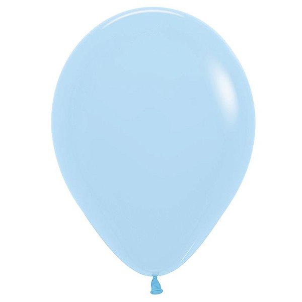 Balão de Festa Latex R12'' 30cm - Azul Pastel Matte - 50 unidades - Sempertex Cromus - Rizzo Festas