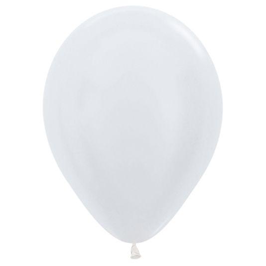 Balão de Festa Latex R12'' 30cm - Branco Satin Perolado - 50 unidades - Sempertex Cromus - Rizzo Festas