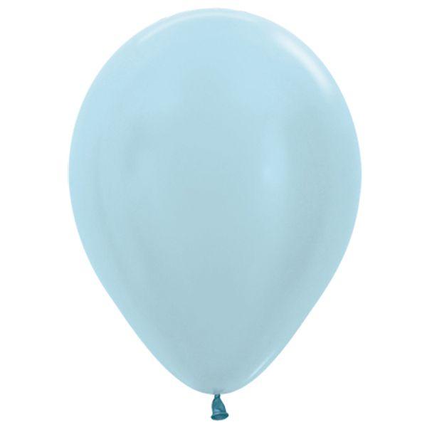 Balão de Festa Latex R12'' 30cm - Azul Satin Perolado - 50 unidades - Sempertex Cromus - Rizzo Festas