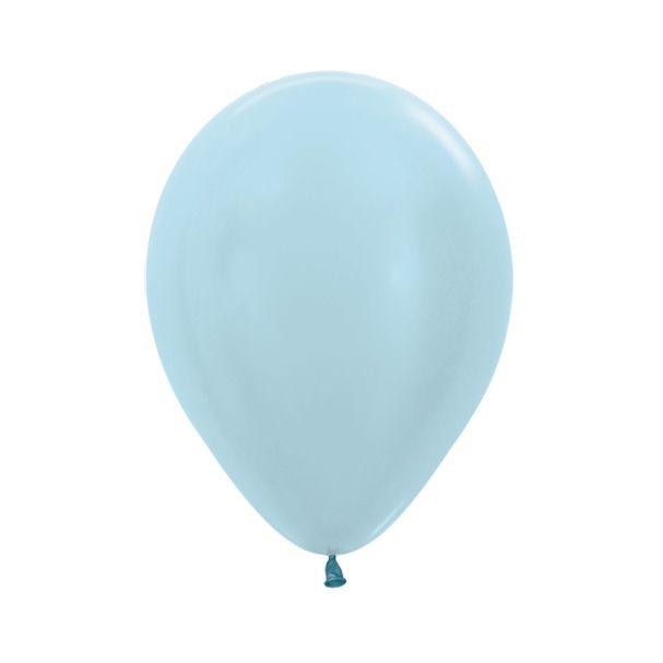 Balão de Festa Latex R10'' 25cm - Azul Satin Perolado - 50 unidades - Sempertex Cromus - Rizzo Festas