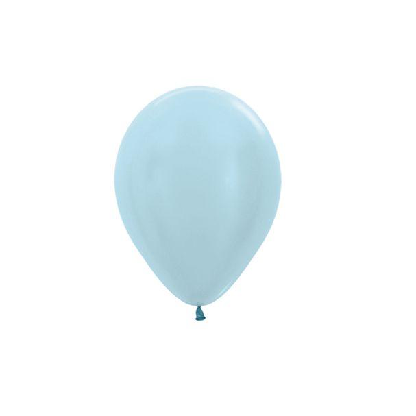Balão de Festa Latex R5'' 12cm - Azul Satin Perolado - 50 unidades - Sempertex Cromus - Rizzo Festas