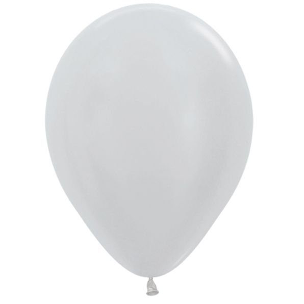 Balão de Festa Latex R12'' 30cm - Prata Satin Perolado - 50 unidades - Sempertex Cromus - Rizzo Festas