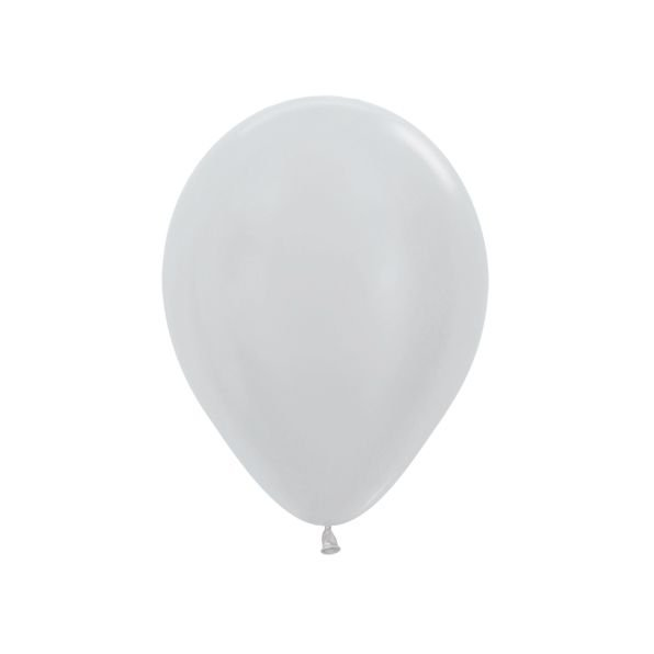 Balão de Festa Latex R10'' 25cm - Prata Satin Perolado - 50 unidades - Sempertex Cromus - Rizzo Festas
