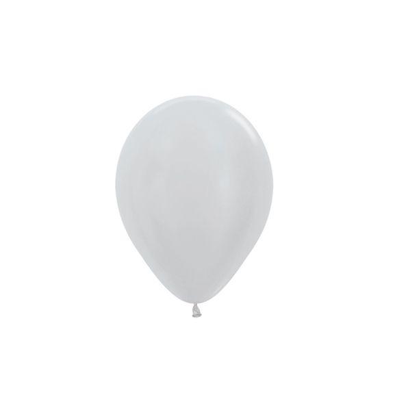 Balão de Festa Latex R5'' 12cm - Prata Satin Perolado - 50 unidades - Sempertex Cromus - Rizzo Festas