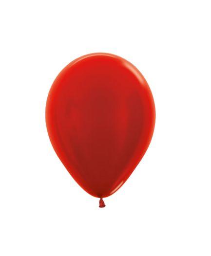 Balão de Festa Latex R5'' 12cm - Vermelho Metal - 50 unidades - Sempertex Cromus - Rizzo Festas
