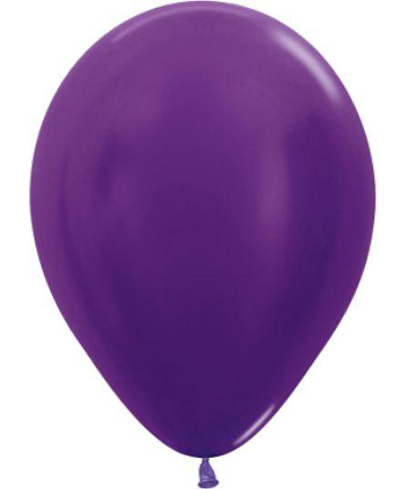 Balão de Festa Latex R12'' 30cm - Violeta Metal - 50 unidades - Sempertex Cromus - Rizzo Festas