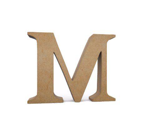 Letra MDF Cru - M - 12x10cm - Rizzo Embalagens