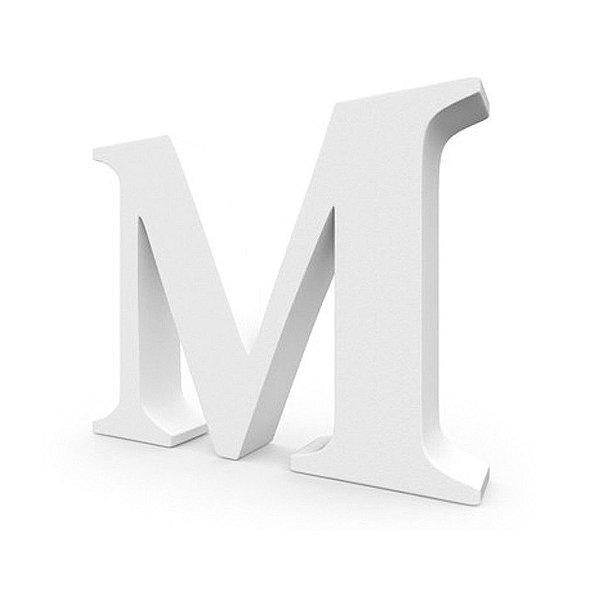 Letra MDF Branca - M - 12x10cm - Rizzo Embalagens