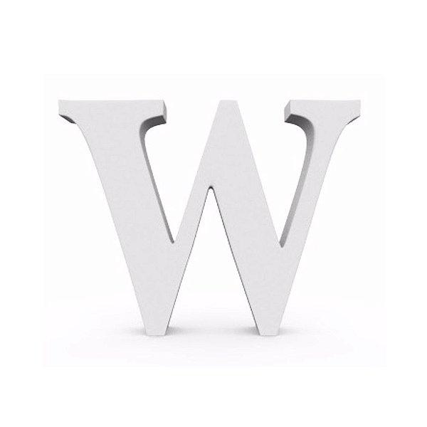 Letra MDF Branca - W - 12x10cm - Rizzo Embalagens