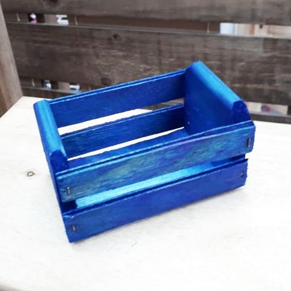 Mini Caixote Madeira - Azul 8x12cm - Rizzo Embalagens